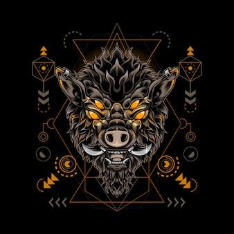 Geometría sagrada del monstruo de jabalí