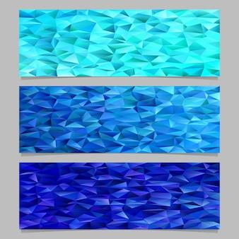 Geométrico abstracto triángulo polígono patrón mosaico banner fondo conjunto de plantillas - diseños gráficos vectoriales de triángulos azules