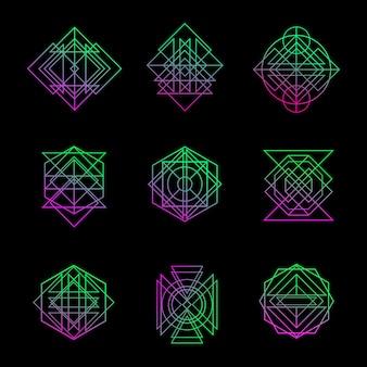 Geometry line art vector set