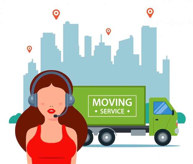 El gerente acepta solicitudes de entrega en la ciudad. logística de movimiento de camiones. ilustración.