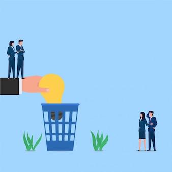 Gerente arroje la lámpara a la basura metáfora del rechazo de la idea. ilustración de concepto plano de negocios.