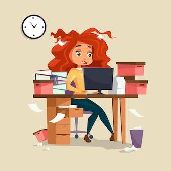 Gerente de chica de dibujos animados trabajando en la computadora con el pelo despeinado