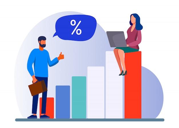 Gerente y cliente bancario discutiendo la tasa de interés