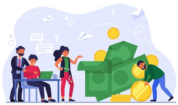 Gerente efectivo ganando dinero
