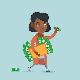 Gerente ejecutivo con maletín lleno de dinero.