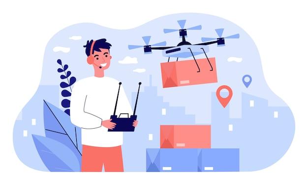 Gerente de entrega alegre controlando la caja de transporte de drones