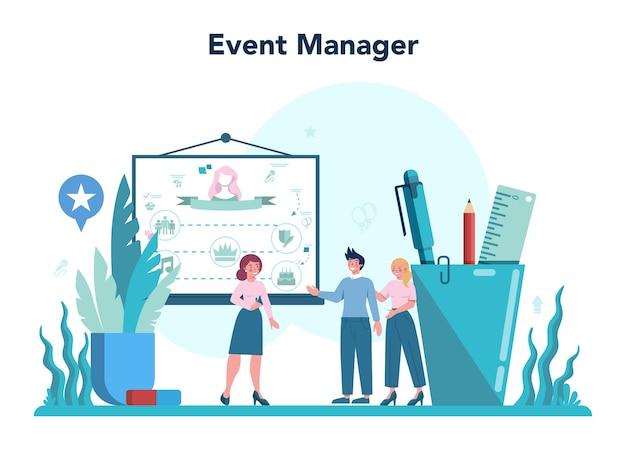 Gerente de eventos o concepto de servicio. organización de celebraciones o reuniones. planificación de empresa de relaciones públicas para negocios. profesión creativa moderna.