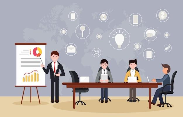 Gerente líder presentación oficina conferencia sala de reuniones