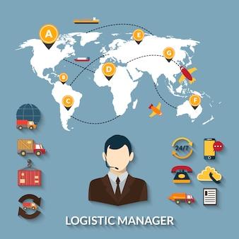 Gerente logístico de infografías