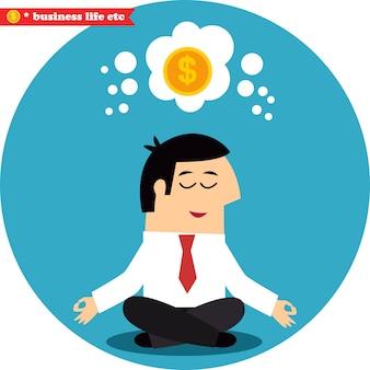 Gerente meditando en dinero y éxito.