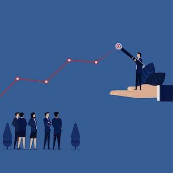 Gerente de negocios dibujar gráfico de línea de destino para ganancias futuras.