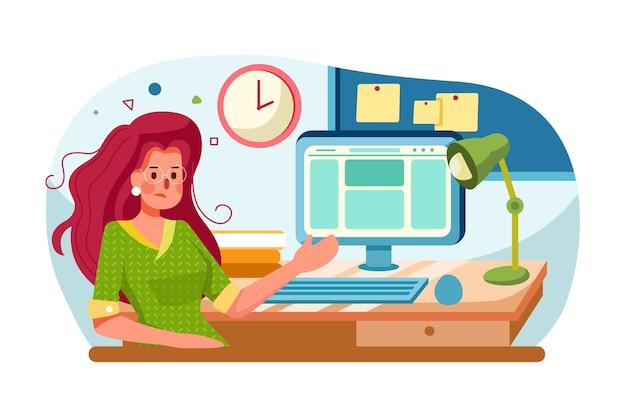 Gerente de niña de dibujos animados trabajando en computadora
