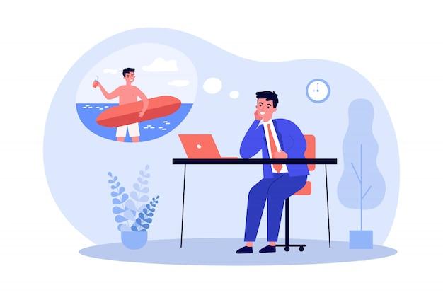 Gerente de oficina soñando con el surf