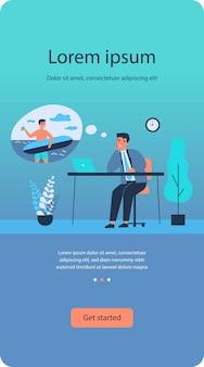 Gerente de oficina soñando con surfear plano aislado