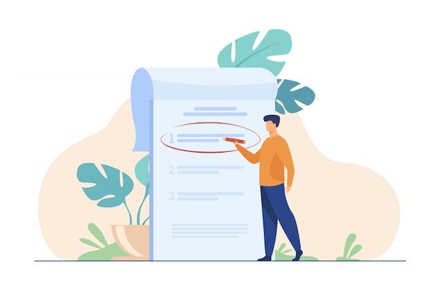 Gerente priorizando tareas en la lista de tareas