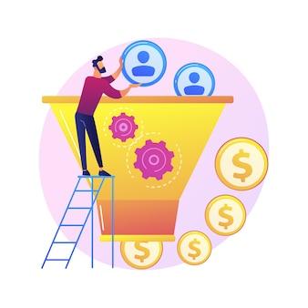 Gerente que trabaja con el personaje de dibujos animados de la audiencia objetivo. proceso de marketing, conversión de clientes, visitantes del sitio web. generación de leads, atracción de clientes