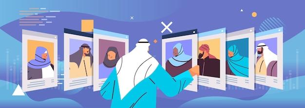 Gerente de recursos humanos árabe que elige currículum vitae con foto e información personal de los nuevos empleados, candidatos al trabajo, reclutamiento, contratación, concepto, horizontal, vector, ilustración