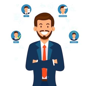 Gerente de recursos humanos en busca de diferentes candidatos de trabajo.