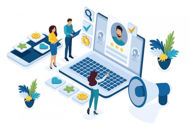 Gerente de recursos humanos isométrico, contratamos empleados para nuestra empresa, concepto de reclutamiento empresarial.