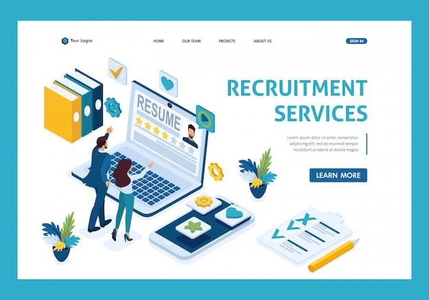 Gerente de recursos humanos isométrico, servicio para encontrar empleados, gerentes consideran candidatos, solicitantes página de destino