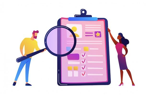 Gerente de recursos humanos mirando a través de una lupa en el candidato de trabajo cv ilustración vectorial.