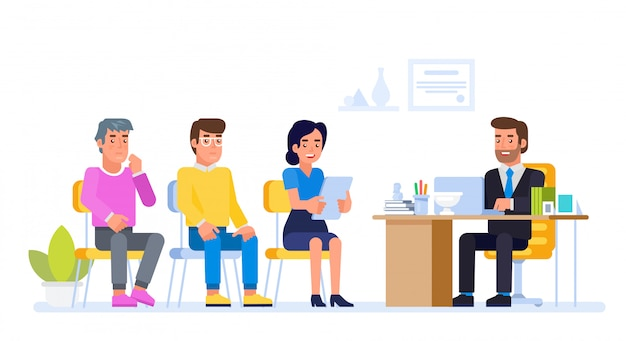 Gerente de recursos humanos reunión solicitante de empleo en la oficina del director.