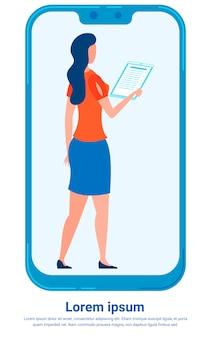 Gerente revisar la plantilla de informe financiero movile