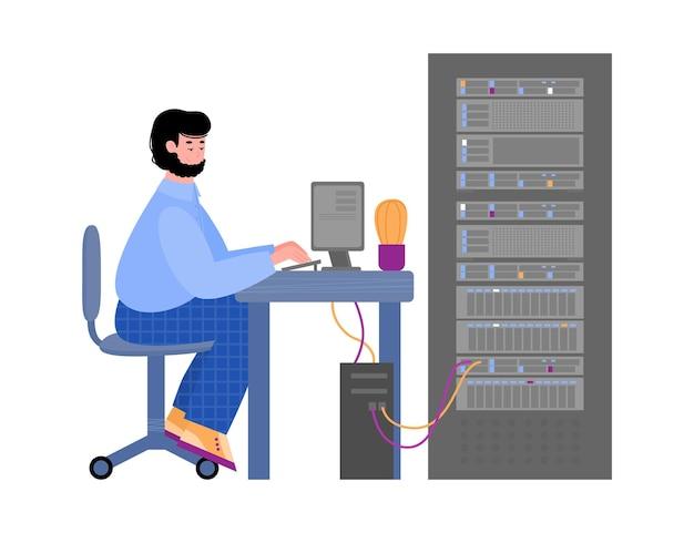 Gerente de ti que trabaja con equipos de servidor en el centro de datos