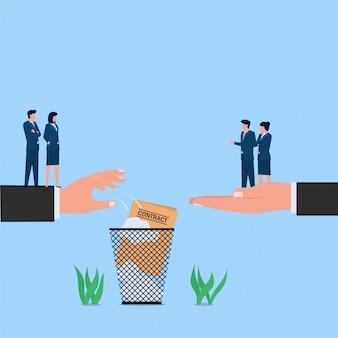 Gerente tirar contrato a basura metáfora de rechazo y rechazo. ilustración de concepto plano de negocios.
