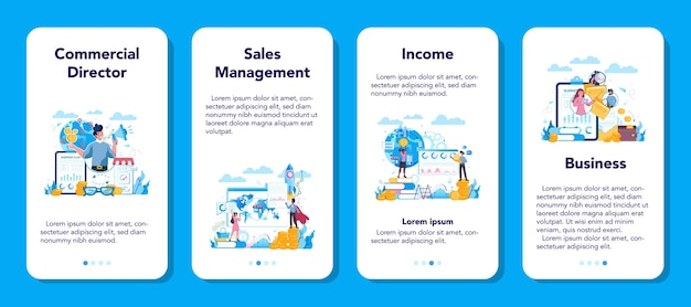 Gerente de ventas o aplicación móvil de concepto de director comercial.