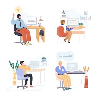 Los gerentes analizan el conjunto de ilustraciones de diseño plano de datos