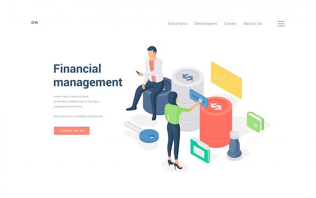 Gerentes financieros que trabajan con datos. ilustración