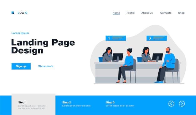Gerentes de finanzas que trabajan con la página de destino de los clientes en estilo plano