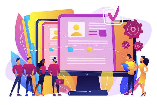 Los gerentes de recursos humanos contratan candidatos con software de recursos humanos y currículum vitae en computadora. software de recursos humanos, tecnología de recursos humanos, concepto de control de efectividad de los empleados.