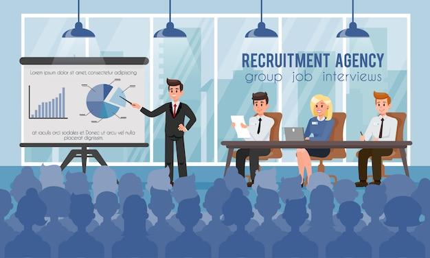 Los gerentes de recursos humanos explican a los candidatos la política de la empresa.
