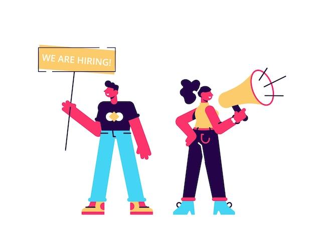 Los gerentes de recursos humanos masculinos y femeninos anuncian una vacante, llevan un cartel con la inscripción que estamos contratando