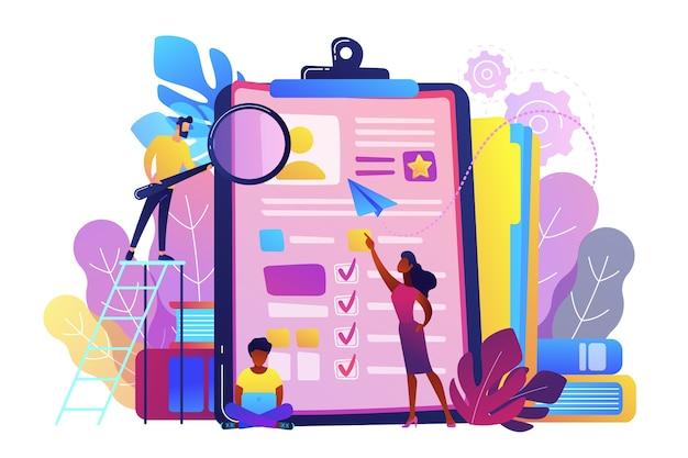 Gerentes de recursos humanos que miran la ilustración del curriculum vitae
