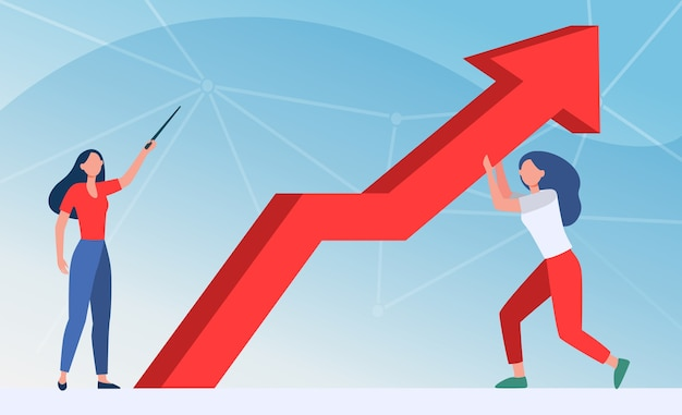 Gerentes resistiendo crisis. mujer apuntando hacia arriba, su colega sosteniendo la ilustración de vector plano de flecha de crecimiento. negocios, resolución de problemas, acostado