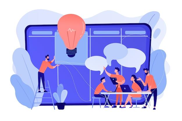 Los gerentes en el taller capacitan a los gerentes en habilidades y la lluvia de ideas en la junta