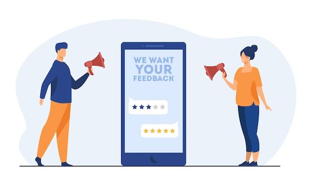 Los gerentes de las tiendas en línea solicitan comentarios a los clientes. pantalla, tarifa, gente con megáfono. ilustración de dibujos animados