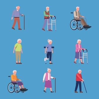 Geriatría nueve ancianos