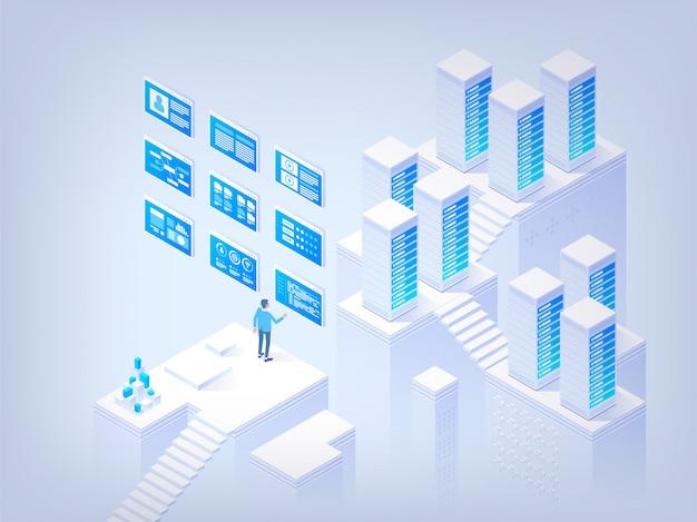Gestión de base de datos. ilustración isométrica de alta tecnología