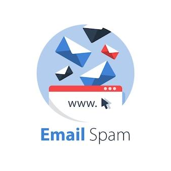 Gestión de correo electrónico, cartas de spam cayendo, bandeja de entrada llena, ilustración