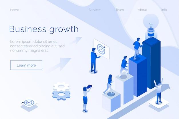 Gestión eficaz del crecimiento empresarial página de inicio 3d