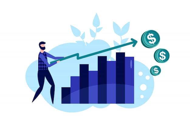 Gestión eficaz. declaración de objetivos y ejecución exitosa con empresario en estilo plano. ilustración de vector de planificación y análisis empresarial. definición de visión y desafío empresarial