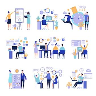 Gestión eficaz. organización de procesos de trabajo con tareas en actividades de la junta de proyecto concepto de gente de negocios
