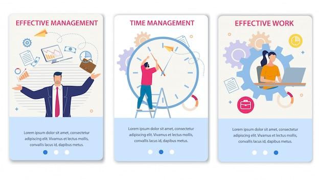 Gestión eficaz del tiempo y conjunto de páginas móviles de trabajo