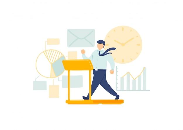 Gestión del empleado en el tiempo de trabajo, personal en miniatura que las personas pequeñas corren en el reloj, concepto de metáfora empresarial cartel o diseño de banner social, ilustración aislada sobre fondo blanco