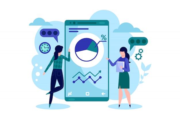 Gestión empresarial eficaz. aplicación móvil para negocios, estadísticas online y análisis de datos. ilustración de vector de inversión y comercio.