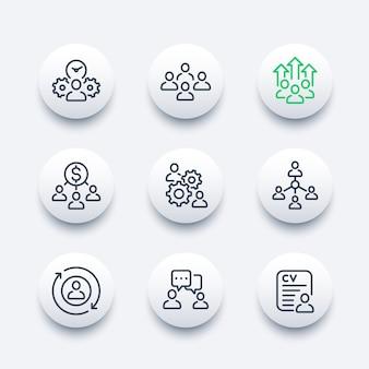 Gestión de equipos, rrhh, personas interactuando línea conjunto de iconos